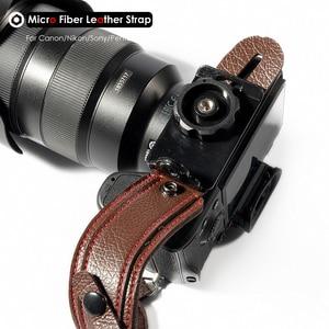 Image 4 - Fotoğraf kamera mikro Fiber deri bilek kayışı DSLR el kemer tutucu darbeye dayanıklı sapanlar Canon Nikon Sony Pentax için Leica