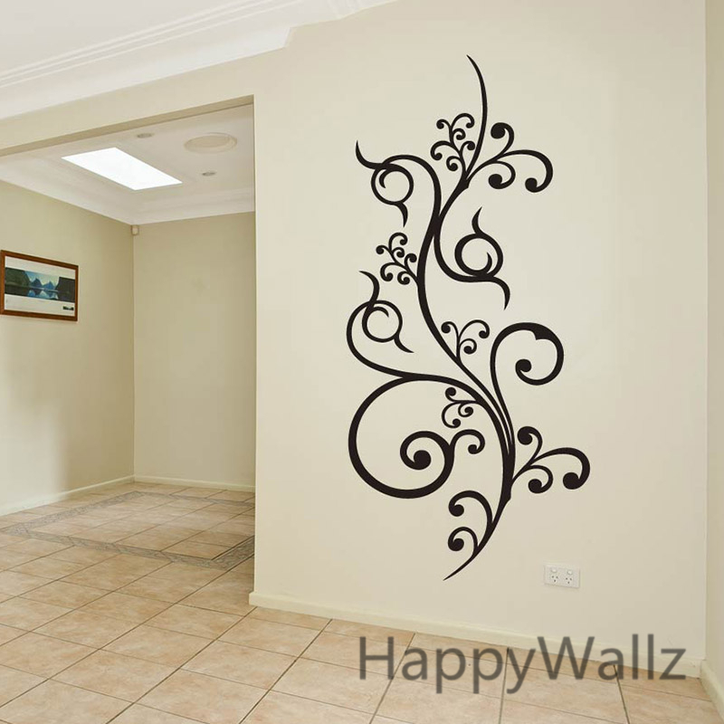 Modern Flower Wine Wall Sticker Flower Wall Decal Modern Wall ...