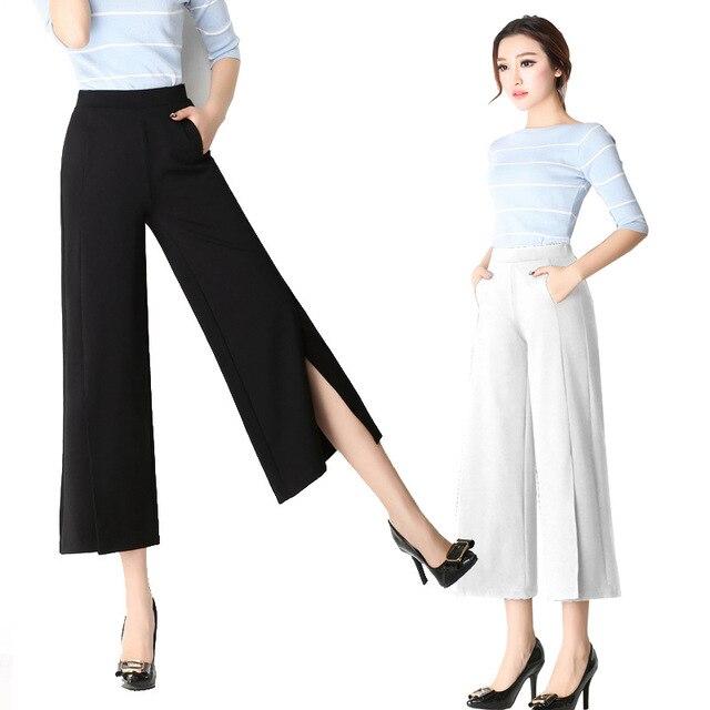 3XL 4XL 5XL 6XL Ropa de Tallas grandes para mujer Pantalones de Pierna Amplia Tobillo-Longitud Pantalones 2016 Ocasionales de Alta Oficina de la Cintura elástico Pantalones de Trabajo