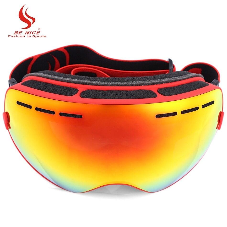 Двойные линзы UV400 Анти-туман большие сферические Лыжный Спорт Очки снег очки 7 цветов лыжные очки для унисекс