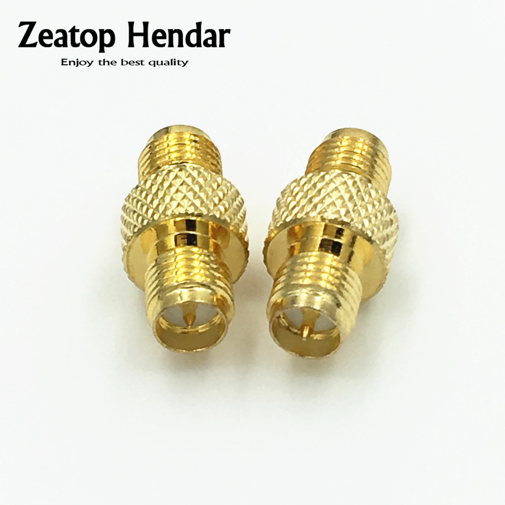 10Pcs Brass RP SMA Female to RP SMA Female Jack in Series RP-SMA with Knurled RF Coaxial Double Straight Adapter Connector