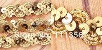 Großhandel 30 yard Goldene Handwerk Spitzenstoffe Pailletten Perlen Spitze Band Pailletten Trim Trim Sewing für Hochzeit Kleid T13