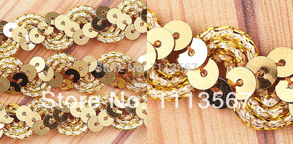 Wholesale 30 yard Golden Craft Lace Fabrics Sequins Beaded Lace Ribbon Sequin Trim Sewing Trim for Wedding Dress T13