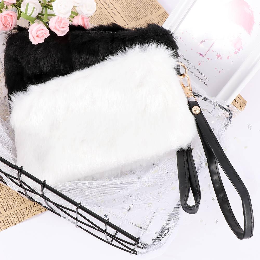 1PC New Hot Women Casual Fashion Elegant Clutch Bag Faux Fur Handbag Wallet Candy Color Clutch Shoulder Messenger Bag Purse