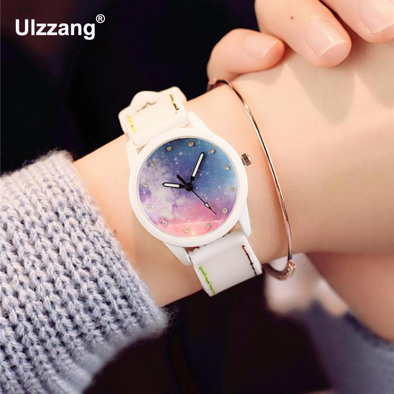 Fashion Unique Fantasy Starry Sky Women Quartz Watches Dream Lovely Cute Rubble Girls Cool Wristwatch Students Trendy Clock Hour