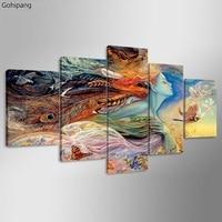 5 패널 조각 추상 그림 캔버스 아트 인도 소녀 오일 HD 인쇄 캔버스 현대 벽 예술 그림 사진