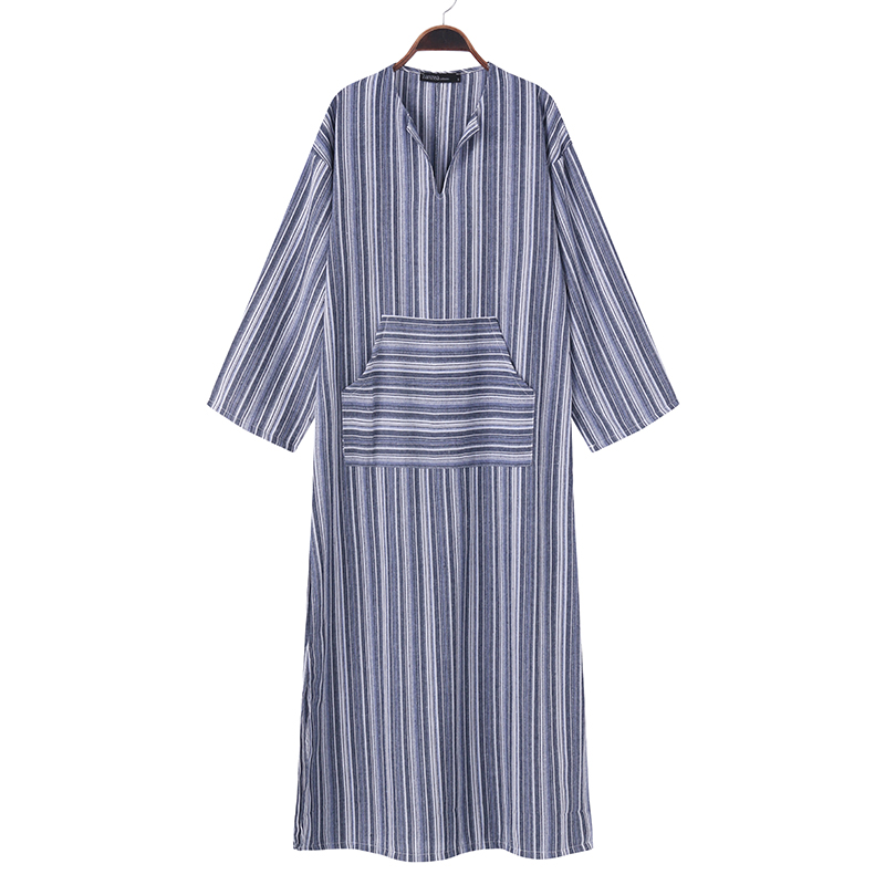 ZANZEA Women Striped Dress 2018 Autumn Vintage Casual Loose Maxi Long Dresses Sexy V Neck Long Sleeve Vestidos Plus Size 4