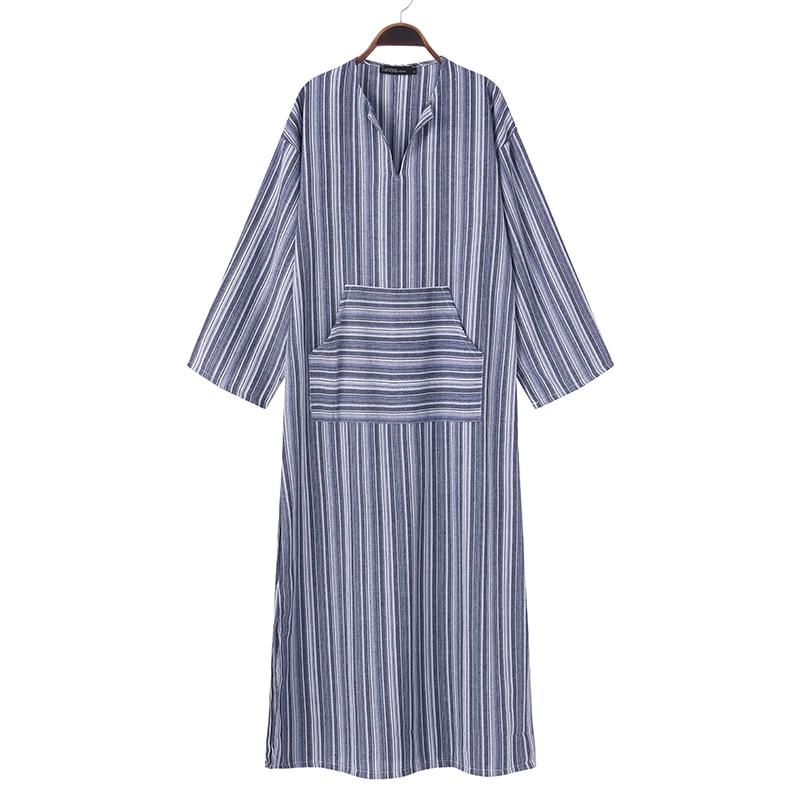 ZANZEA Women Striped Dress 2018 Autumn Vintage Casual Loose Maxi Long Dresses Sexy V Neck Long Sleeve Vestidos Plus Size 4