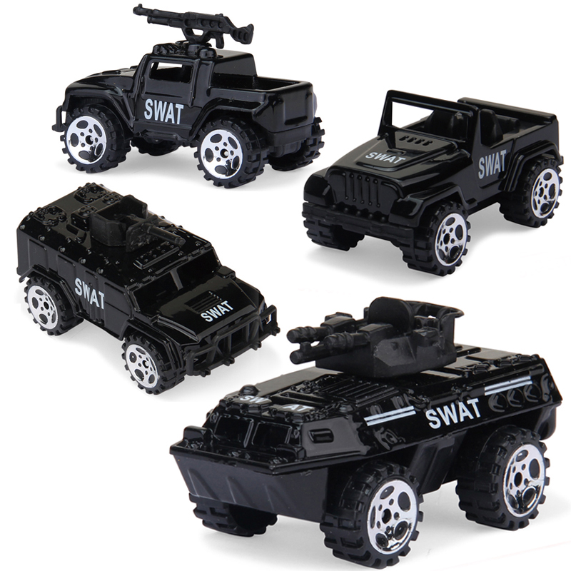 4PCS Alloy Diecast Car Model Collection Brinquedos Metal Vehicle Toy Police Children Education Toys Gift For Boy Kids Children
