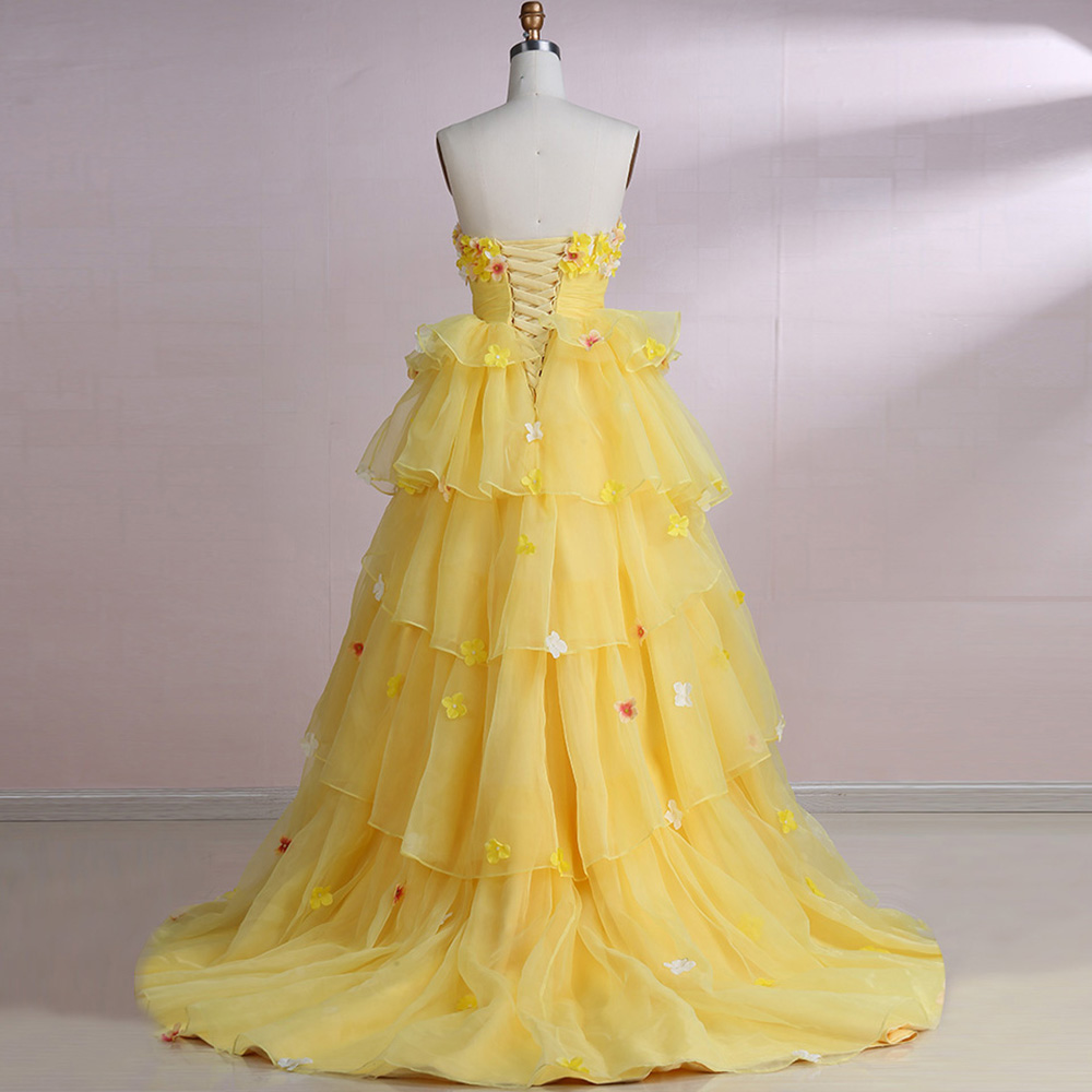 Berylove Princess Ball Gown Quinceanera Dresses 2018 Long Yellow