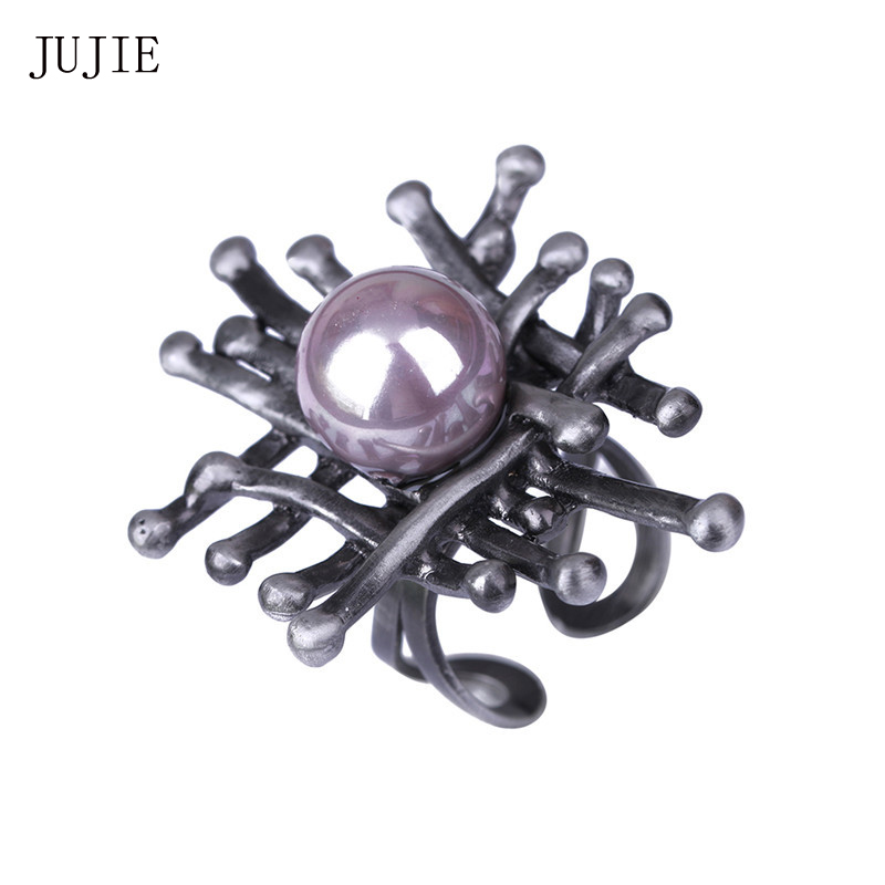 JUJIE Antique Hollow Pearl Ringe Für Frauen 2019 Vogelnest Vintage Ring Marke Schmuck Dropshipping