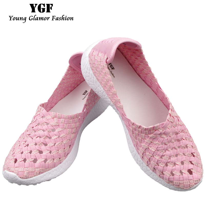 YGF Women Loafers Platform Casual Shoes Slip on Women Summer Flats Shoes Mesh Breathable Footwear Women Woven Shoes Multi Colors lanshulan bling glitters slippers 2017 summer flip flops platform shoes woman creepers slip on flats casual wedges gold