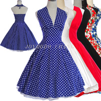 Women Summer Marilyn Monroe Style 50s 60s Swing Vintage Retro Dress Pinup Prom Ball Polka Dots Rockabilly Printed Floral Dress