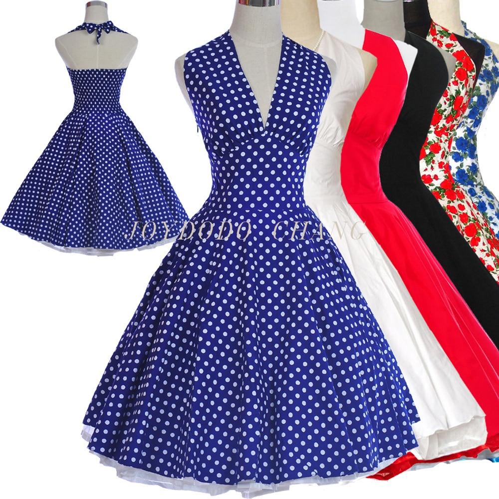 Femmes été Marilyn Monroe Style 50 s 60 s Swing Vintage rétro robe Pinup bal de promo à pois Rockabilly imprimé Floral robe