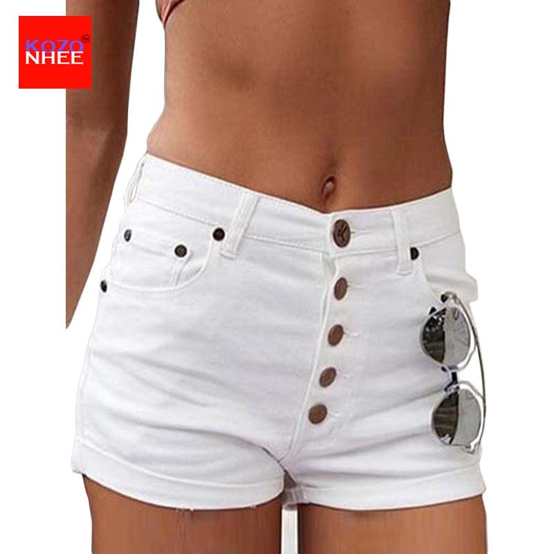 Summer Tight White Women Denim   Shorts   With High Waist Fashion Sexy Denim   Shorts   Trousers For Women