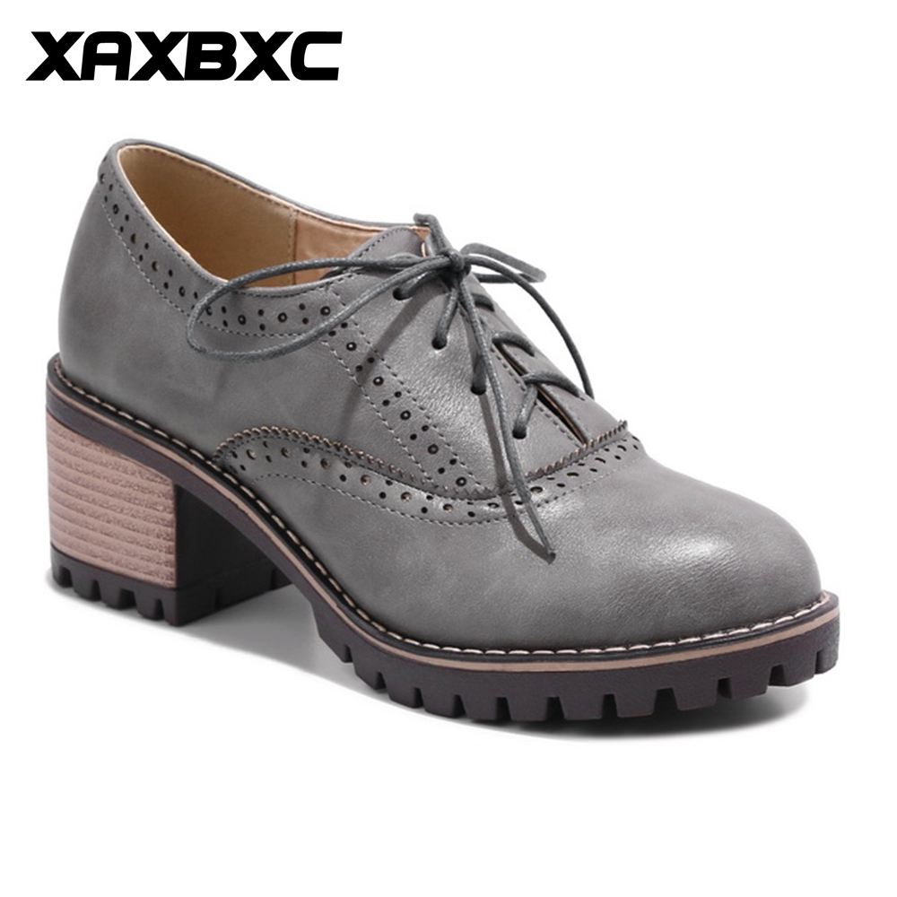 XAXBXC 2018 Spring Retro British Style Brogues Oxfords Brown Platform Pumps Women Shoes Thick Heel Handmade Casual Ladies Shoes beau today brand retro british style 2017 women low heel genuine leather casual brogues wingtip oxford shoes black blue brown