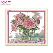NKF Peony Flower DIY handmade DMC 14ct and 11ct Cross stitch kit and Precise Printed Embroidery set nkf 11ct