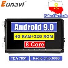 "Eunavi 2 din 9 ""Android 9.0 4G di RAM Car Radio Stereo GPS di Navigazione per VW Passat B6 CC polo DA GOLF 5 6 Jetta Touran Tiguan Magotan"