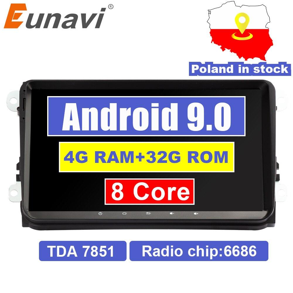 Eunavi 2 din 9'' Android 9.0 4G RAM Car Radio Stereo GPS Navi for VW Passat B6 CC Polo GOLF 5 6 Touran Jetta Tiguan Magotan Seat