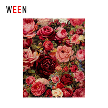 WEEN Blooming Red Rose Diy Painting By Numbers Flower Oil On Canvas Cuadros Decoracion Acrylic Wall Art Home Decor Gift