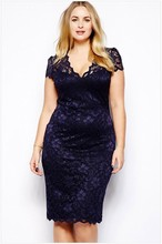 2016 vestido Spring and autumn fashion 4xl women's plus size sexy cutout medium-long short-sleeve V-neck lace dress jupe