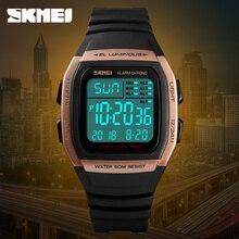 SKMEI мужские спортивные цифровые часы Неделя дисплей 5Bar водостойкие наручные светодиодный LED хронограф задняя подсветка Авто Дата Будильник 1278