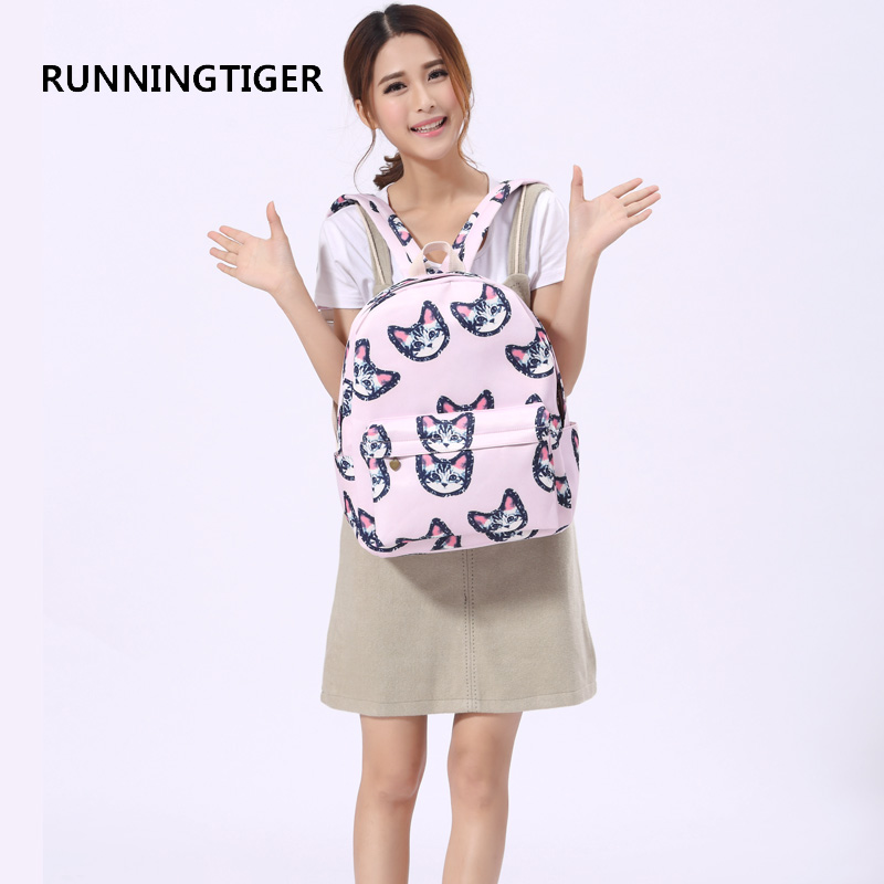 RUNNINGTIGER Women Casual Backpack Cute Cat Printing Backpacks Canvas School Bags for Teenage Girls Fashion Travel Backpack veevanv new fashion women s backpacks audrey hepburn printing backpacks for teenage boy girls casual bags for fans best gifts