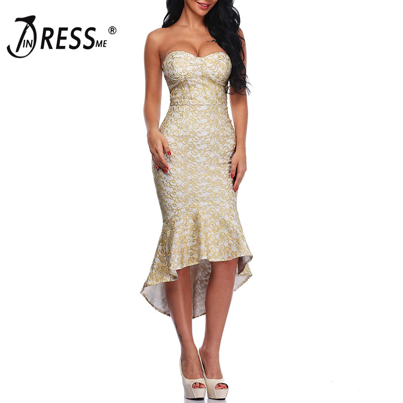INDRESSME Sexy Luxury Gold Embroidery Backless Midi Women Bandage Dress Elegant Solid Mermaid Midi Women Party