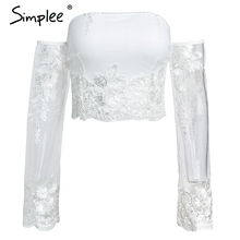 Simplee Mesh embroidery white crop top women Lace up backless sexy camis Transparent long sleeve slim summer cropped 2018