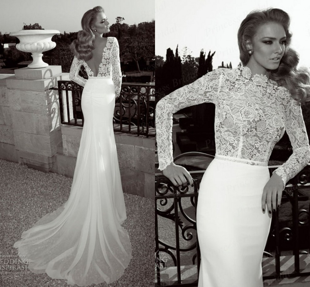 aliexpresscom buy 2017 designer mermaid low back court train top lace long sleeve flowy wedding dresses mf018 from reliable flowy wedding dresses
