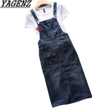 2019 Spring Summer Denim Women's Dress Loose Spaghetti Strap Dress Large size Jeans Vintage Casual Female Dress Overalls S-5XL(China)