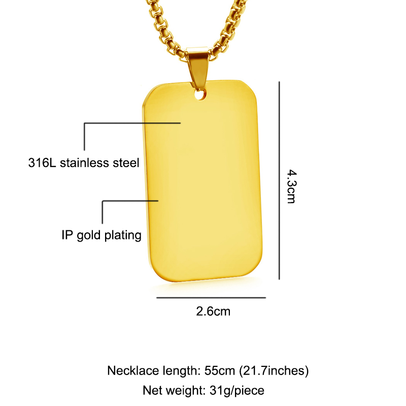 247d045af2de5 Blank Rectangle Dog Tag Personal Gold Silver Black Stainless Steel Engrave  Material Pendant Name Photo Jewelry Wholesale