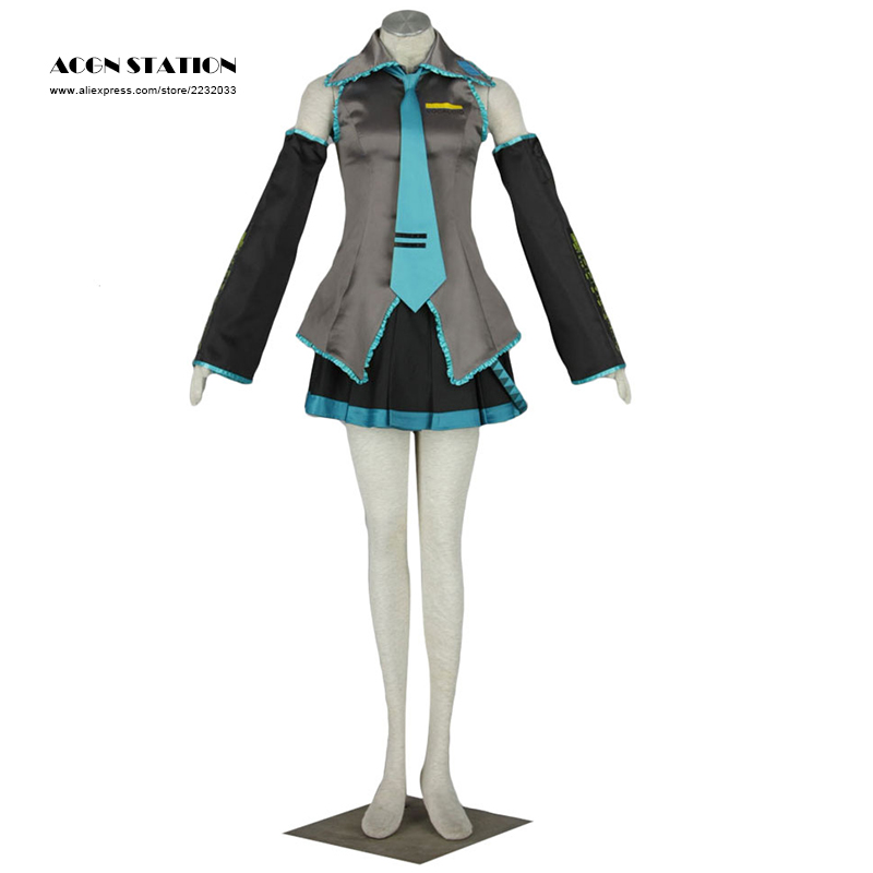 2018 ACGN STATION Free shipping High Quality Vocaloid Miku Hatsune Miku Cosplay Costume Customize for plus size adults and kids