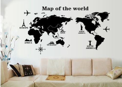 Large Aircraft Map Of World Vinyl Wall Decal World Map Landmark