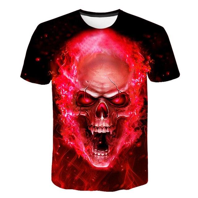 2018 marca cráneo camiseta hombres camiseta llama roja gráfico 3d impresión  Punk Rock ropa Hip Hop 317f2d8df3b