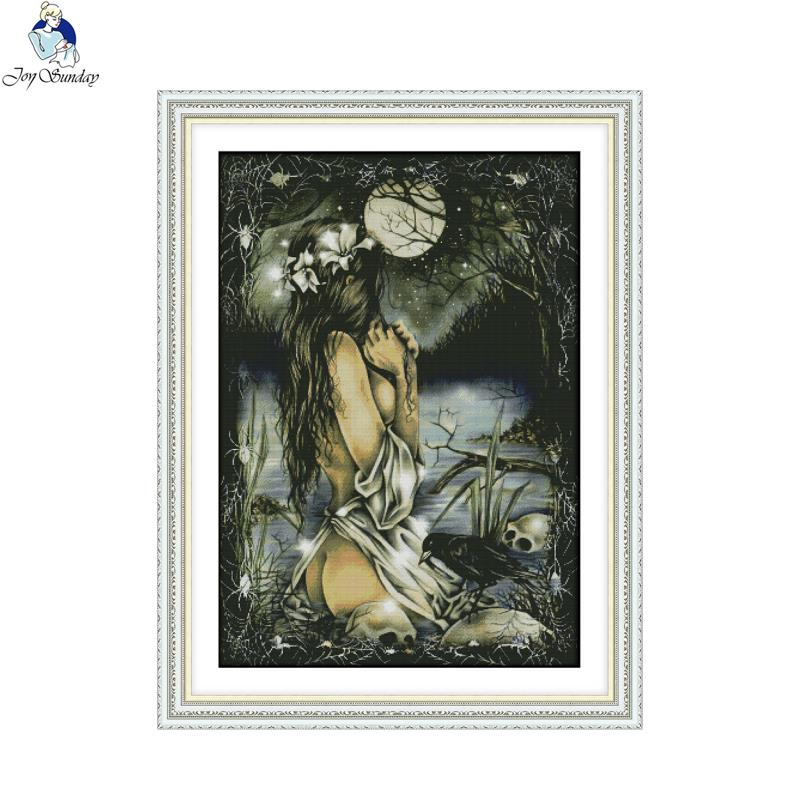 Joy sunday RA149 The Women and the full moon 14CT 11CT Counted Stamped Home Decoration DIY Handwork Cross Stitch Kits