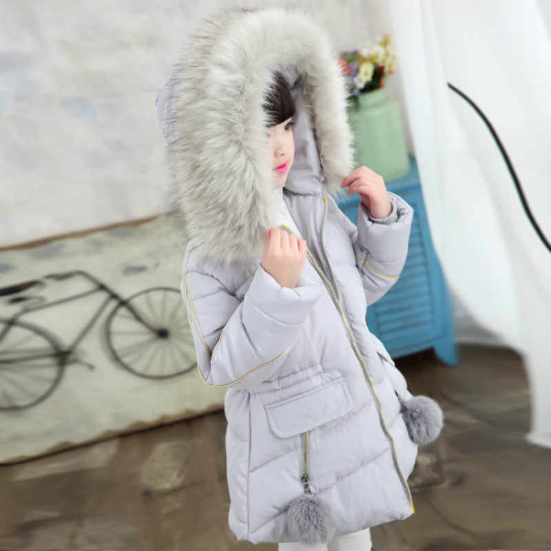 Down Jacket Girl Winter 2019 Children's Fur Girls Coat Russian Winter Jacket For Teenage Girls Warm Hooded Thick Cotton-Padded