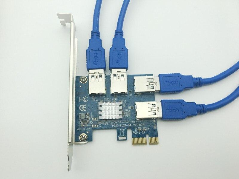 USB 3.0 PCI-E rallonge carte Riser PCI Express 16X adaptateur 60cm SATA 15Pin à 6Pin câble d'alimentation cordon pour Bitcoin BTC outil minier