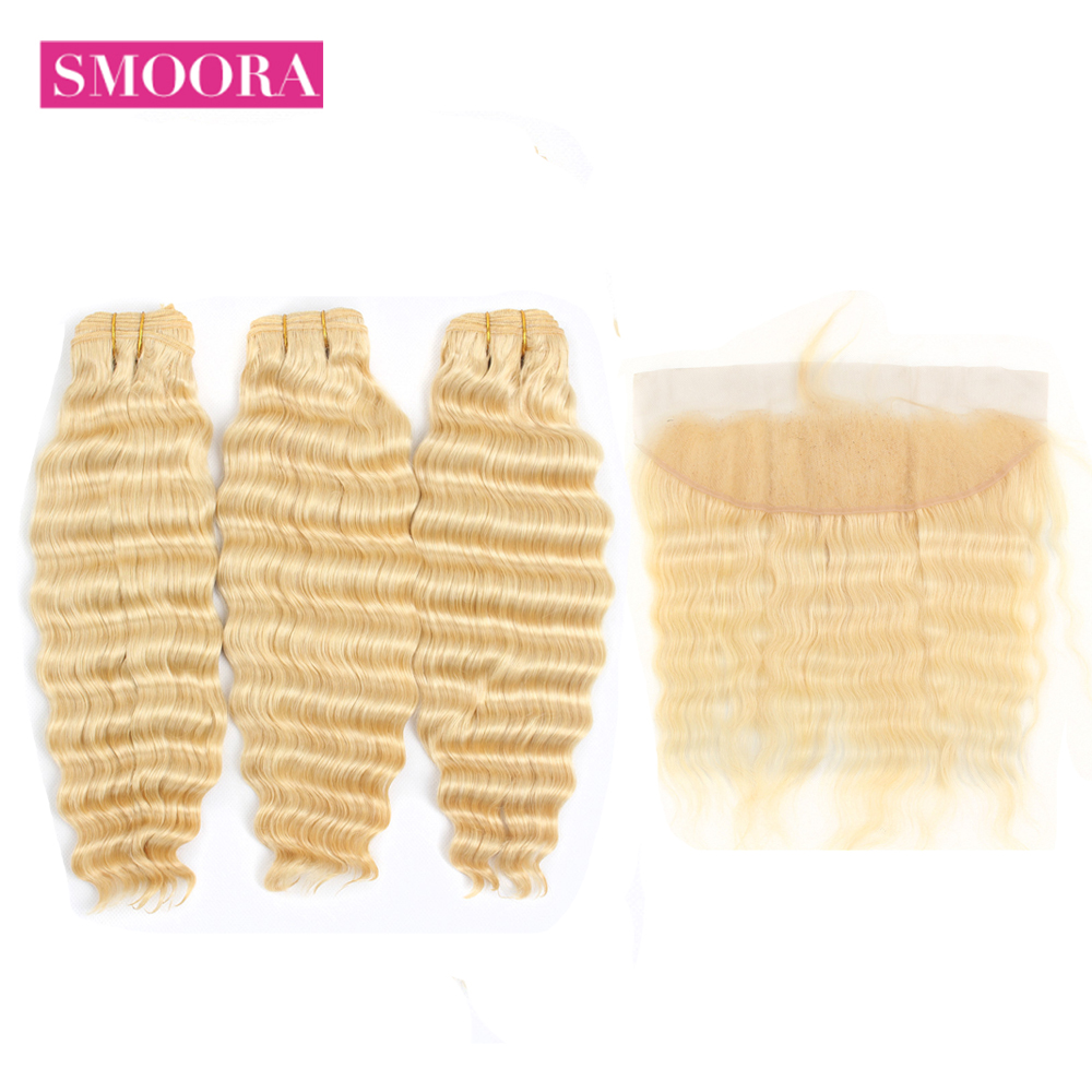 Smoora 613 Blonde Deep Wave Malaysian Human Hair Bundles with Lace Frontal NonRemy Light Blonde Bundles with Pre Plucked Frontal image