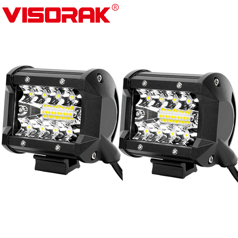 VISORAK 4 Inch 60W LED Work Light Bar Combo Offroad Motorcycle Foglights LED Light Bar For Pickup 4WD 4x4 ATV UTV SUV Jeep Truck
