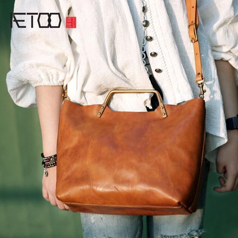 AETOO Handmade ไหล่สะพายด้านหลังแบบพกพาหญิงสุภาพสตรีหนังผัก tanned cowhide กระเป๋ากระเป๋า tote กระเป๋า retro เด็ก-ใน กระเป๋าหูหิ้วด้านบน จาก สัมภาระและกระเป๋า บน   1