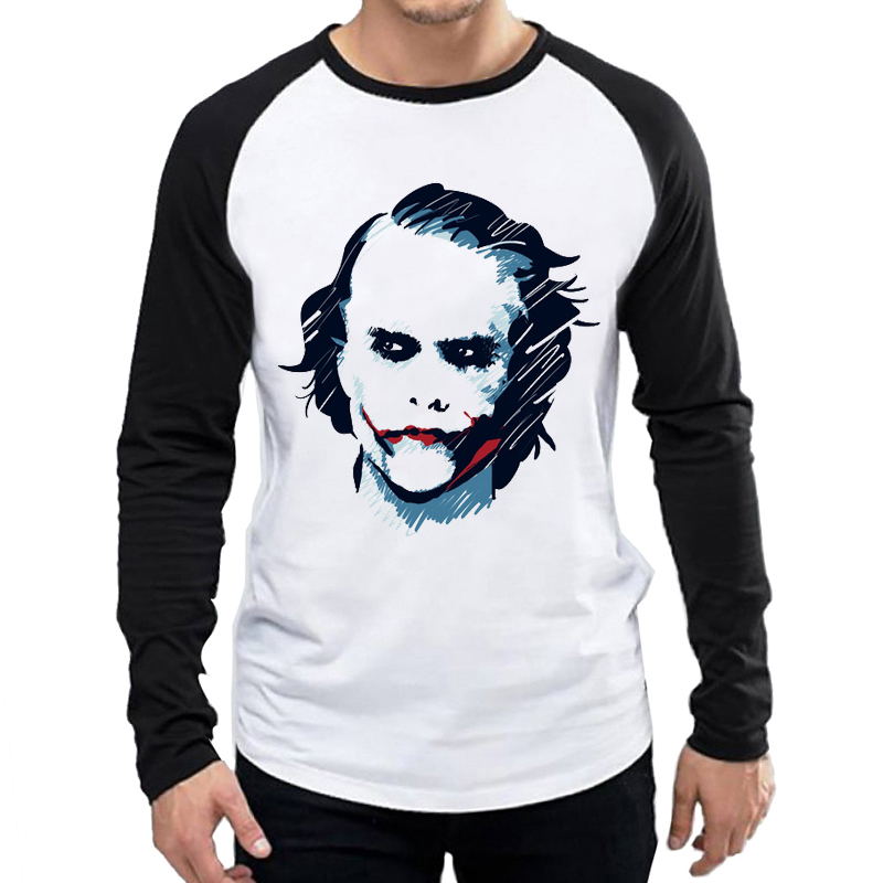 Heath Ledger Joker T Shirt White Color Mens Fashion Long Sleeve Heath Ledger T shirt Tops Tees tshirt Full Sleeve Joker T shirt in T Shirts from Men 39 s Clothing