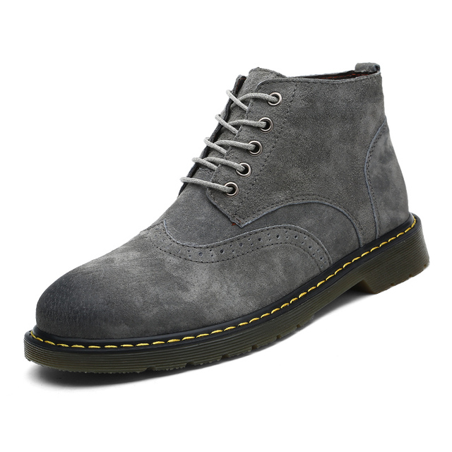 6ba316cf52df1 2018 Autumn Winter Men Brogue Boots High Quality Leather Ankle Boots Man s  Casual Shoes Working Fahsion Men Boots Big Size 38-47
