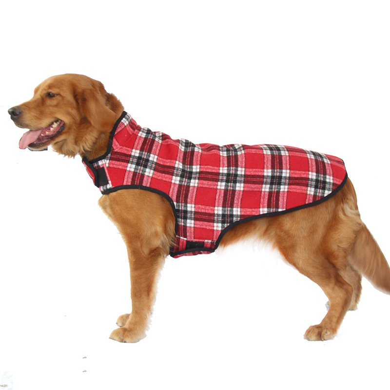 Large Dog Clothes Winter Warm Plaid Dog Coats Pet Clothes Apparel Red Blue Dogs