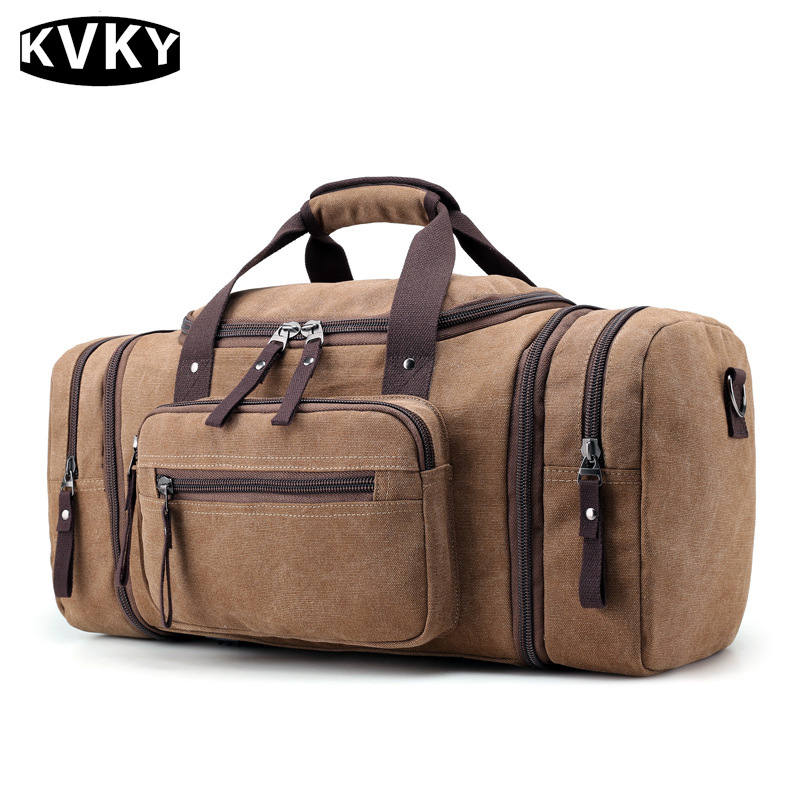 KVKY Brand 2017 New Travel Bags Men Large Capacity Handbag Luggage Travel Duffle Bags Canvas  Multifunctional Business Bags