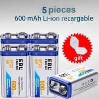 EBL 5 Units 9V 600Mah 6f22 Rechargeable Battery High Capacity Rechargeable Lithium battery for Electric Guitar&Remote Control