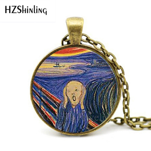2017 New Glass Dome Necklaces The Scream Pendant Edward Munch Art Jewelry Der Schrei Necklace Novel Chain Gift HZ1(China)