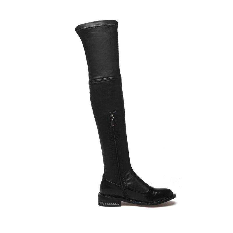 Cremallera La Rodilla Zapatos Botas Salu Cuero Hasta Interior Tacón Elegante Punta Redonda Niupi De ms Mujer Grueso Genuino 6q74R