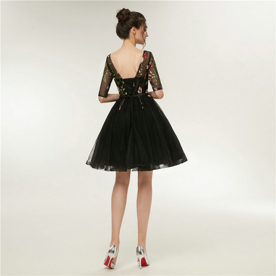 Ivory Black Scoop Tulle Appliques Lace Up Prom Evening Dress 2