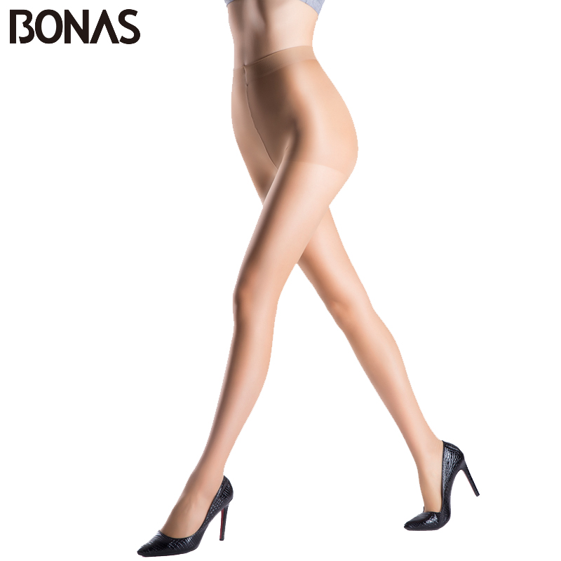BONAS Black Hosiery Nylon Tights Polyester Spring Seamless Women Slim Lolita Style Fashion Soft Pantyhose Solid Transparent